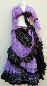 Jaipur Skirt Ensemble, Purple and Black