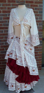 Gorgeous Offwhite 25 yard Embroidered skirt - top with Solid color Skirt