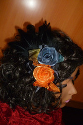 Beautiful Hair Fascinator Orange Black Grey