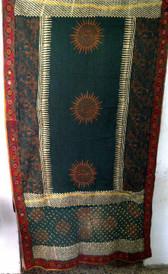 Tie Dye Block Print Veil with Banjara Embroidered Border