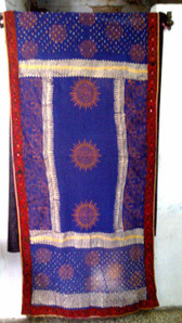Tie Dye Block Print Veil with banjara embroidery on all 4 edges
