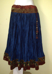 Gorgeous Midnight Blue Crushed  Silk Skirt