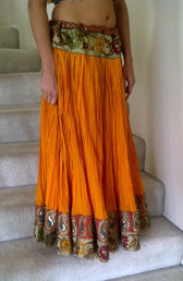 Breathtaking Orange Crushed Silk Skirt with Pleasing Brocade Trim