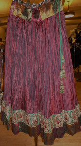 Striking Burgundy Crushed Silk Full Skirt with the Perfect Brocade Trim