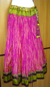 Gorgeous Crushed Silk Pink Skirt with Purple Accents