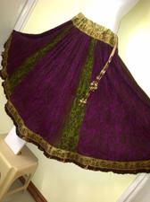 Crushed Silk Block Print Olive &  Purple Full Skirt