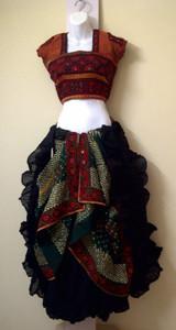 Eye-catching Dupatta Choli & Banjara Veil with a Solid Colored 25 yd Skirt