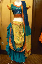 True Teal and Beige 3 pc Lehnga