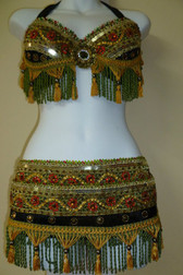 Extraordinary Red, Gold & Green Brocade Bra/Belt 3 pc set with Green & Gold Fancy Trimmings
