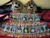 Astounding Antique Black fabric Used with Phulkari Work #7