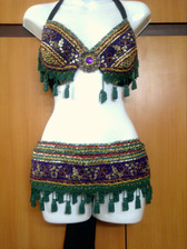 Breath-Taking Purple Sequined & Green Trim with Tassels #15