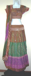 Beautiful 3 Pc Block Print  Lehnga Copper Fuschia Green