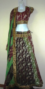 3 Pc Lehnga Woods are Lovely Dark and Deep Green Maroon Blk