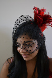Siren Red Top Hat with Feathers and Polka Dot Veil