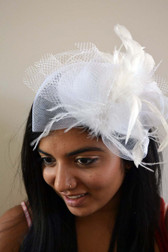 White Top Hat with Feathers and Lace
