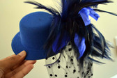 Peacock Blue Top Hat with Feathers and Polka Dot Veil