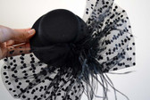 Classic Black Top Hat with Feathers and Lace