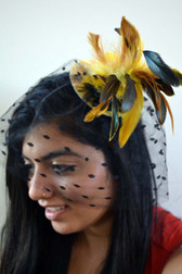 Yellow Mini Top Hat with Sequins, Feathers and Polka Dot Veil