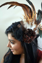 Large Feather, Flower and Lace Fascinators in Brown, Blue and Pink