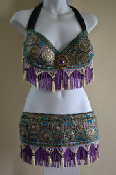 Beautiful Purple andTurquoise Brocade Bra Belt Set  No.25