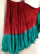 DIP DYE- 25-Yard Pure Cotton Skirts - Dark Red Ligt Red Teal