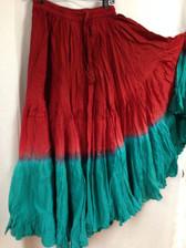 DIP DYE- 25-Yard Pure Cotton Skirts - Dark Red Ligt Red Teal