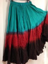 DIP DYE- 25-Yard Pure Cotton Skirts - Turq Rust Black