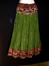 Beautiful Green Crushed Silk Skirt