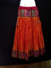 Beautiful Orange Crushed Silk Skirt