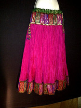 Beautiful Hotpink Paisley Crushed Silk Skirt