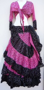 Jaipur Skirt Ensemble, Pink and Black