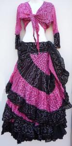 Jaipur Skirt Ensemble, Pink and Black