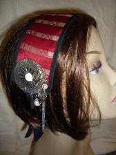 Lovely Red Brocade Head Piece 1