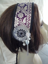 Lovely Purple Brocade Head Piece 1