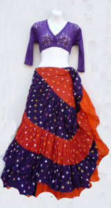 Jaipur Skirt Ensemble, Purple with Orange