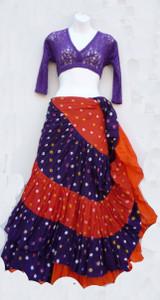 Jaipur Skirt Ensemble, Purple with Orange