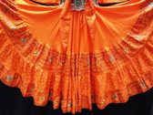Beautiful Orange Embroidered 25 Yard Skirt