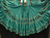 Beautiful Teal Embroidered 25 Yard Skirt