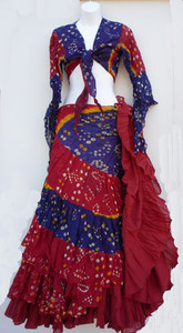 Jaipur Skirt Ensemble, Red and Blue