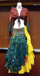 Jaipur Skirt Ensemble, Red, Green and Yellow