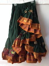 Embroidered Aishwarya Skirt Green - Gold Band