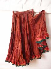 Striped Aishwarya Skirt Peach and Red
