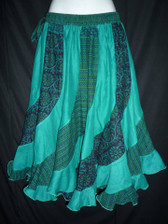 Bright Teal Scalloped 12 panel Skirt