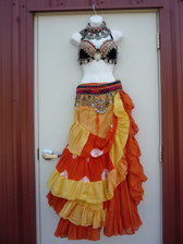 Gorgeous Orange Yellow Ensemble 2 skirts, Bra, Belt, Necklace