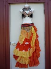 Gorgeous Orange Yellow Ensemble 2 skirts, Bra, Belt, Necklace