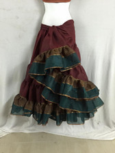 Limited Edition AIshwarya Skirt Maroon with Copper Green border MFLE5