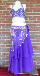 Gorgeous Glitzy Purple Ensemble Bra/Belt/Skirt