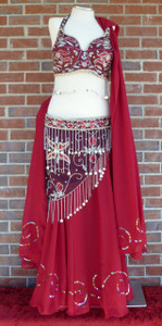 Gorgeous Glitzy Burgundy Ensemble Bra/Belt/Skirt/Veil