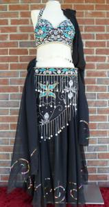 Gorgeous Glitzy Blk/Trq Ensemble Bra/Belt/Skirt/Veil