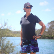 Ladies Golf Top - Black Short Sleeves with Collar